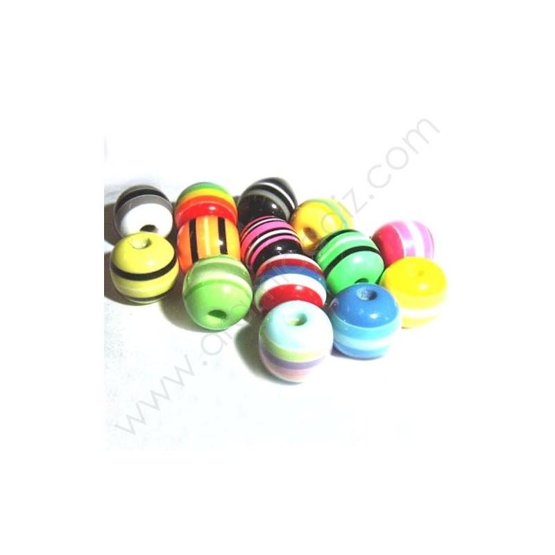 RB010 / Cuentas de resina redondas. - 50 Unid.