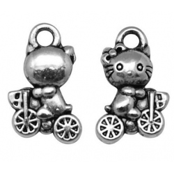 29419-AS / Colgante metal Kitty-bici. 25 Unid.
