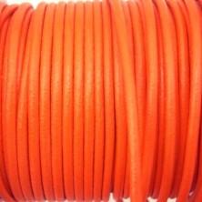 CCR25 / Cordón cuero redondo 2.5mm. Naranja. 1 Metro.