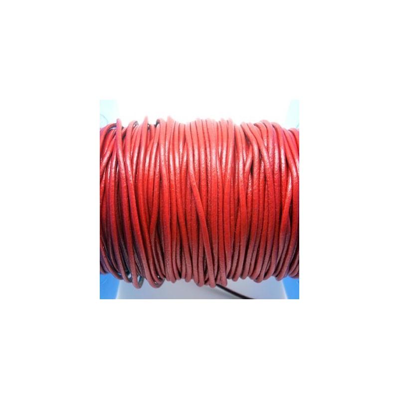 CCR2 / Cordón cuero redondo 2mm. Rojo. 1 Metro.