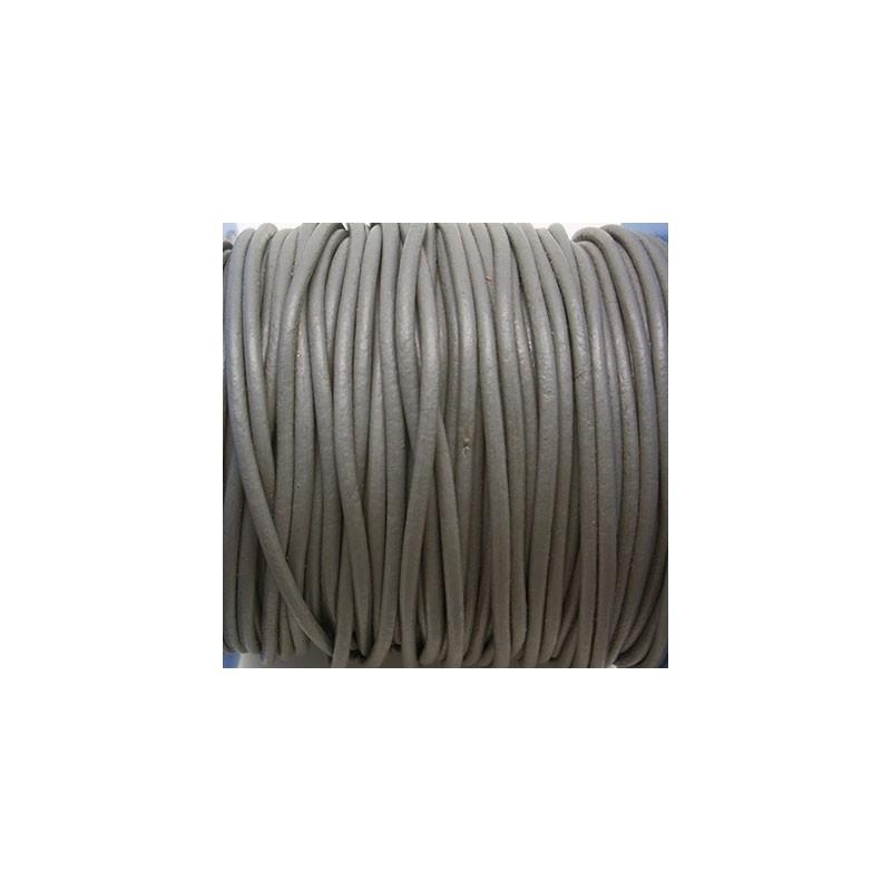 CCR2 / Cordón cuero redondo 2mm. Nácar. 1 Metro.