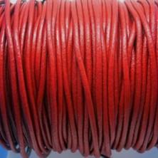 CCR25 / Cordón cuero redondo 2.5mm. Rojo. 1 Metro.