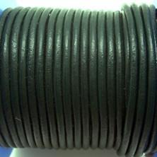 CCR25 / Cordón cuero redondo 2.5mm. Verde botella. 1 Metro.