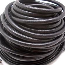 CC35106401 / Cordón cuero redondo, negro 6mm. 20cm.