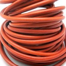 CC35106410 / Cordón cuero redondo, naranja 6mm. 20cm.