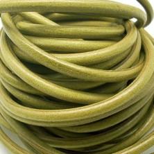 CC35106408 / Cordón cuero redondo, pistacho 6mm. 20cm.