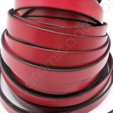 VM22113215 / Tira plana cuero 13mm. Rojo. 1 metro.