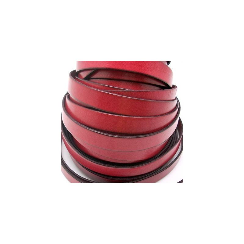 TP22113215 / Tira plana cuero 13mm. Rojo. 1 metro.