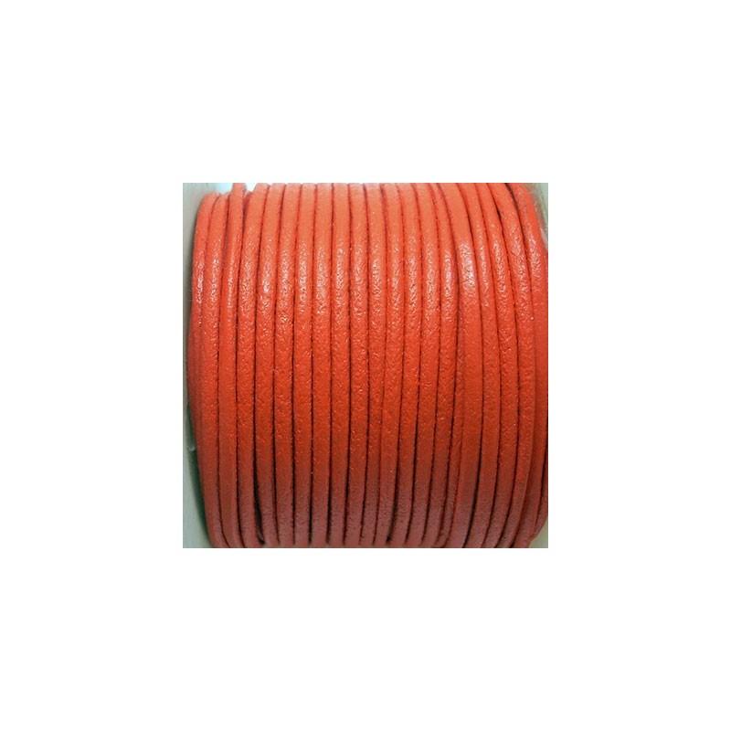CCR2 / Cordón cuero redondo 2mm. Naranja. 1 Metro.