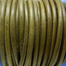 CC45 / Cordón cuero 4.5mm. VERDE JASPEADO. 1m.