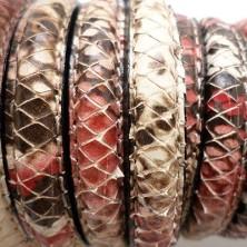 246-10 / Cuero media caña serpiente ROJO. 20cm.