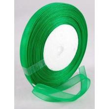 Cinta de organza verde 10mm. - Rollo 45 m.