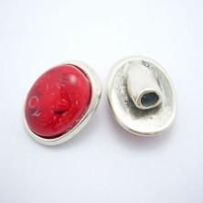 ZM77811-05 / Cierre botón piedra roja.