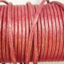CCR25 / Cordón cuero redondo 2mm. Rojo nacarado. 1 Metro.