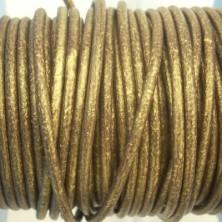 CCR25 / Cordón cuero redondo 2.5mm. Oro viejo. 1 Metro.