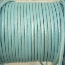CCR25 / Cordón cuero redondo 2.5mm. Celeste nacarado. 1 Metro.