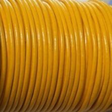 CCR25 / Cordón cuero redondo 2.5mm. Amarillo. 1 Metro.