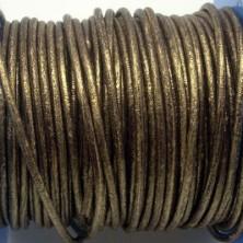 CCR2 / Cordón cuero redondo 2mm. Oro viejo. 1 Metro.