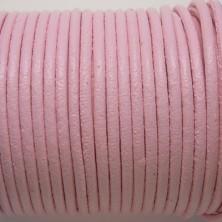 CCR2 / Cordón cuero redondo 2mm. Rosa bebé. 1 Metro.