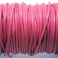 CCR25 / Cordón cuero redondo 2.5mm. Rosa chicle. 1 Metro.