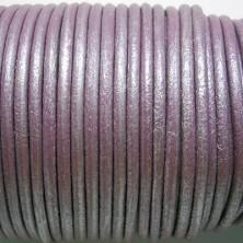 CCR25 / Cordón cuero redondo 2.5mm. Lila nacarado. 1 Metro.