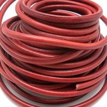 CC35106403 / Cordón cuero redondo, rojo 6mm. 20cm.