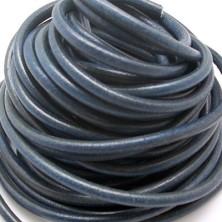 CC35106404 / Cordón cuero redondo, azul marino 6mm. 20cm.