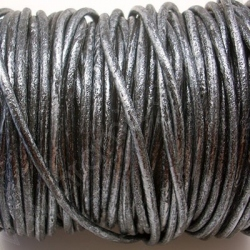 CCR25 / Metallic blue leather cord 2,5mm. 1 m.