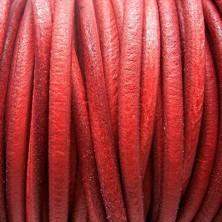 CC45 / Cordón cuero 4.5mm. ROJO MATE. 1m.