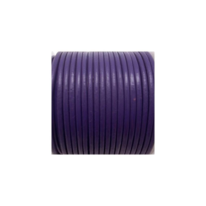 CCR25 / Cordón cuero redondo 2.5mm. MORADO. 1 Metro.