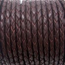 TR3 / Cuero trenzado MARRÓN 3mm. 1 metro.
