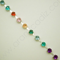 CCH304 / Cadena STRASS COLORES (CUP CHAIN) 3MM. PLATEADA. 20CM.