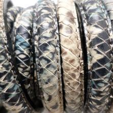 246-10 / Cuero media caña serpiente marrón. 20cm.