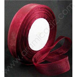 Cinta de organza granate 20mm. Rollo de 45 m.