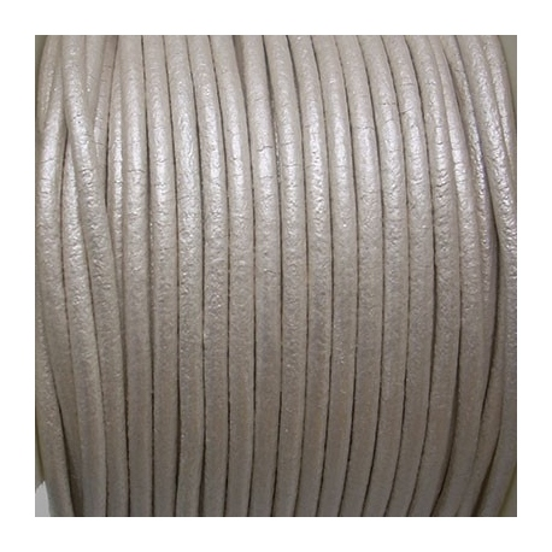CCR2 / Cordón cuero redondo 2mm. Pistacho. 1 Metro.