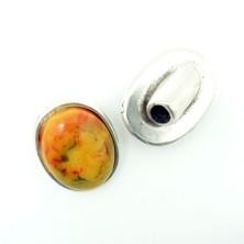 ZM77811-05 / Cierre botón piedra roja. 2 Unid.